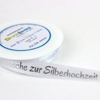 """Dekoband mit """"Die besten Wünsche zur Silberhochzeit"""" Schriftzug"""