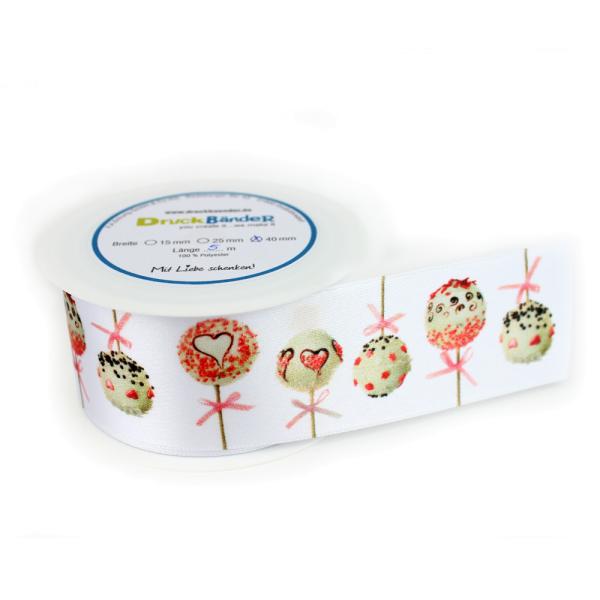 """Dekoband Design """"Cakepops"""" 40 mm breit"""