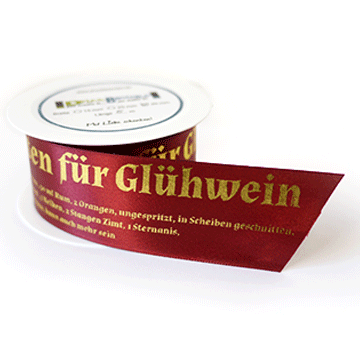 """Dekoband """"Glühweinrezept und lustigem Schneemann"""""""
