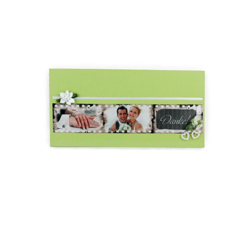 Hochzeit, Danke Karte, Danksagung, Dankeschoen, kreative Karte, bedrucktes Band, Digitaldruck