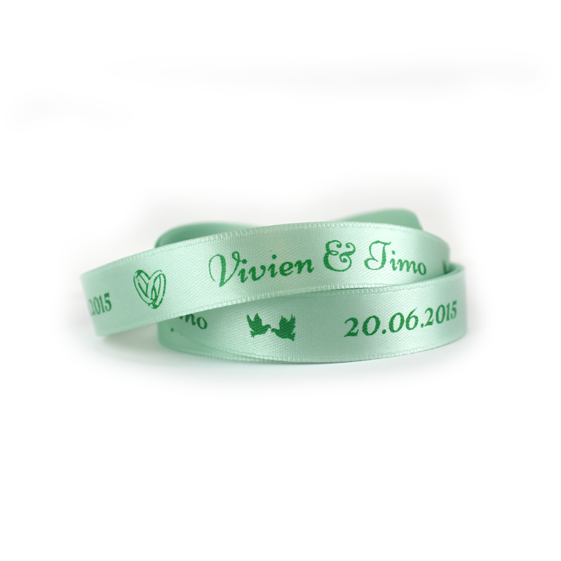 einfarbig bedrucktes Band, Satinband bedruckt, Namensband, Hochzeit, Tischdeko, Basic Print