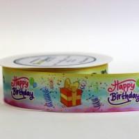 Geschenkband Happy Birthday bunt