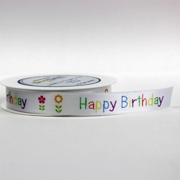 "Satinband ""Happy Birthday"" - bunt"