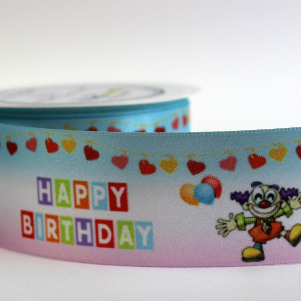 "Satinband ""Happy Birthday"" - Clown"