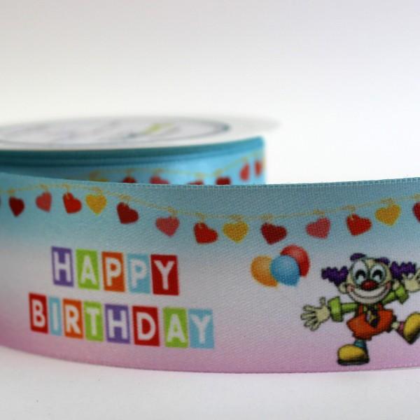 Happy Birthday Geschenkband bunt