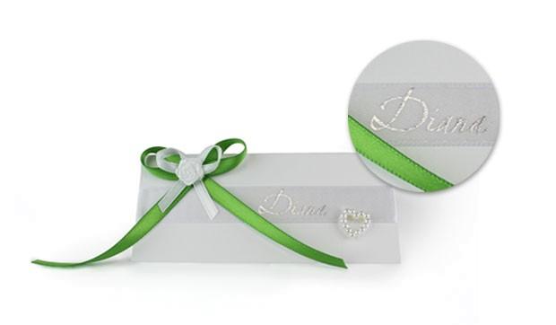 einfarbig bedrucktes Band, Satinband bedruckt, Namensband, Hochzeit, Tischdeko, Basic Print, Namenskärtchen, Namenskarte, Tischkarte