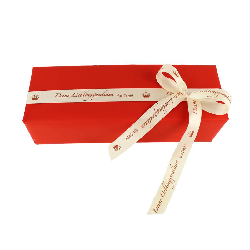 Geschenk, Geschenkidee, Schleife, kreativ verpacken, bedrucktes Band, individuelles Geschenk, persönliches Geschenk