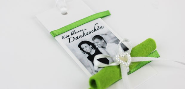 mehrfarbig bedrucktes Band, Satinband bedruckt, Namensband, Hochzeit, Tischdeko, Premium Print, Danke Hochzeit, wedding, Foto auf Band drucken